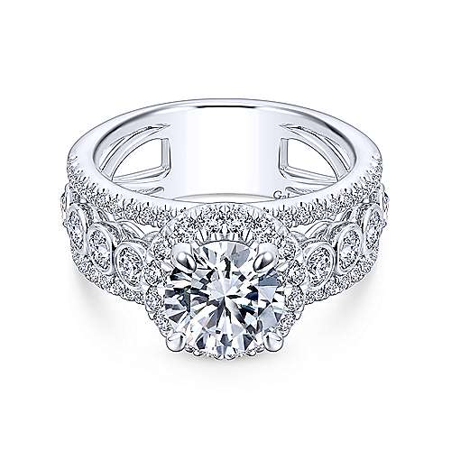 Gabriel - Prima 18k White Gold Round Halo Engagement Ring