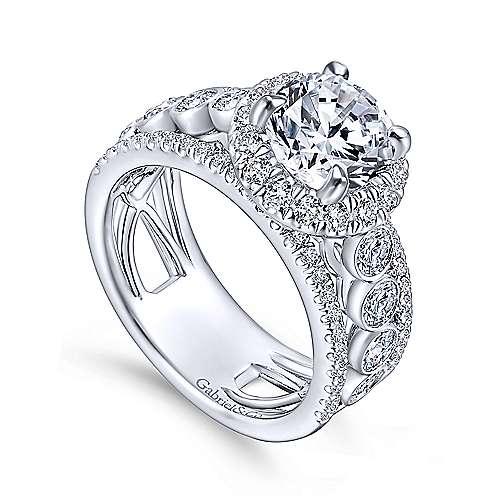 Prima 18k White Gold Round Halo Engagement Ring angle 3