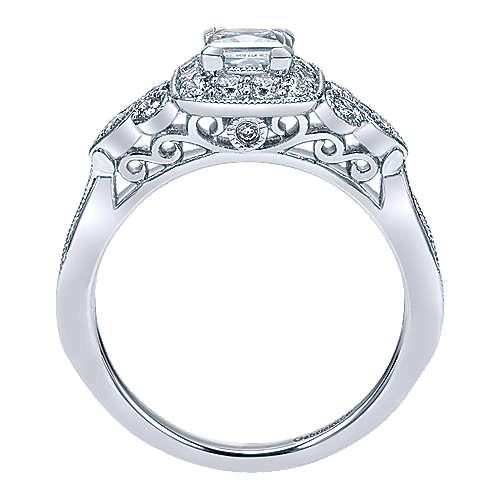 Primavera 14k White Gold Princess Cut Halo Engagement Ring angle 2
