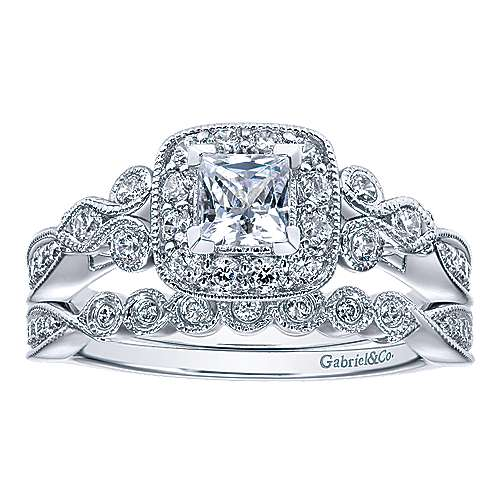 Primavera 14k White Gold Princess Cut Halo Engagement Ring angle 4