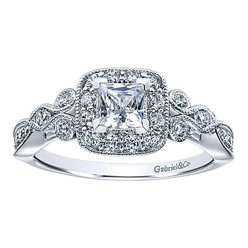 Primavera 14k White Gold Princess Cut Halo Engagement Ring angle 5