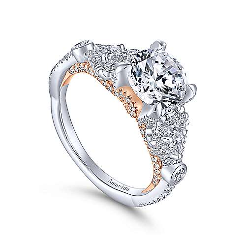 Prime 18k White And Rose Gold Round Twisted Engagement Ring angle 3
