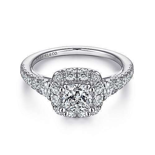 Gabriel - Priscilla 14k White Gold Cushion Cut Halo Engagement Ring
