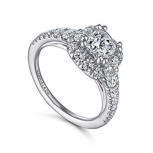 Priscilla 14k White Gold Cushion Cut Halo Engagement Ring angle 3