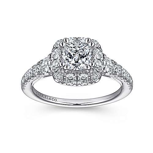Priscilla 14k White Gold Cushion Cut Halo Engagement Ring angle 5