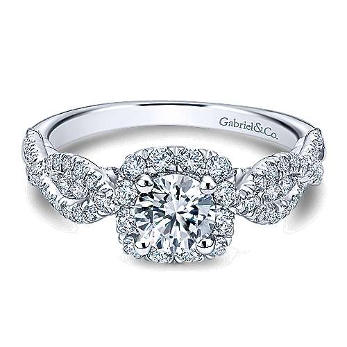 Gabriel - Prive 14k White Gold Round Halo Engagement Ring