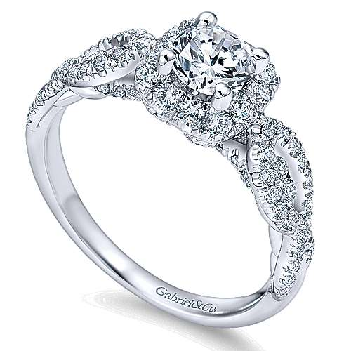 Prive 14k White Gold Round Halo Engagement Ring angle 3