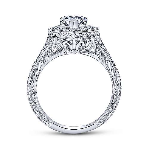 Prudence 14k White Gold Pear Shape Halo Engagement Ring angle 2
