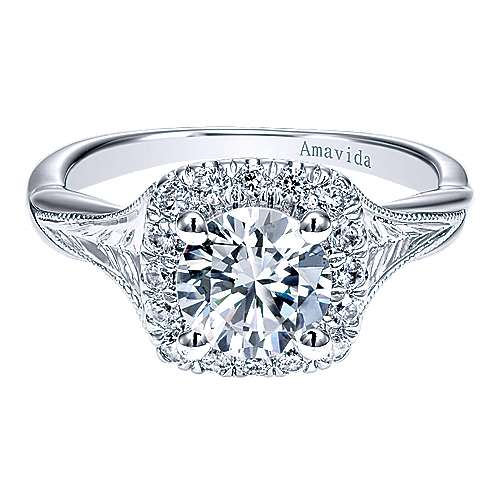 Pure 18k White Gold Round Halo Engagement Ring angle 1