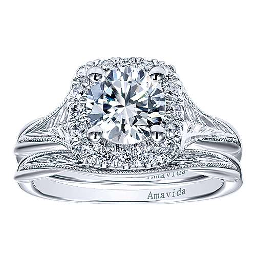 Pure 18k White Gold Round Halo Engagement Ring angle 4