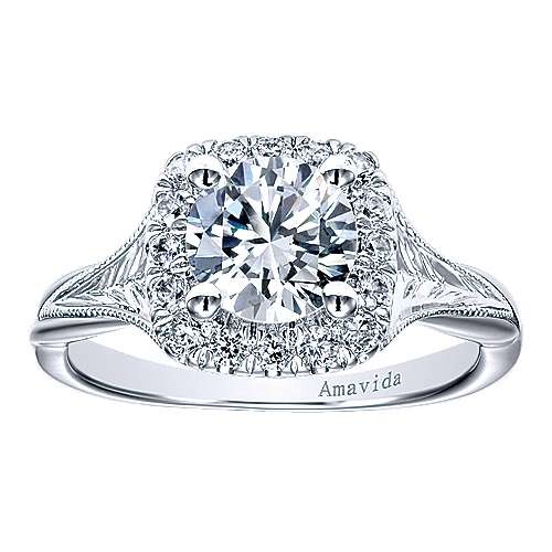Pure 18k White Gold Round Halo Engagement Ring angle 5