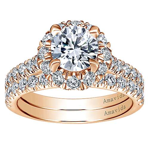 Queen 18k Rose Gold Round Halo Engagement Ring angle 4