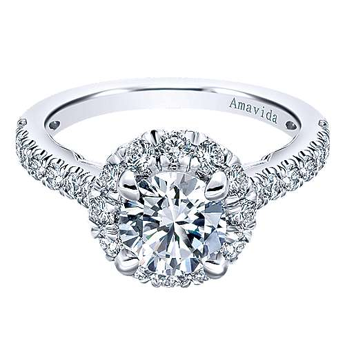 Queen 18k White Gold Round Halo Engagement Ring angle 1