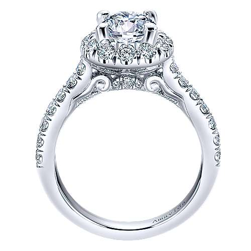 Queen 18k White Gold Round Halo Engagement Ring angle 2