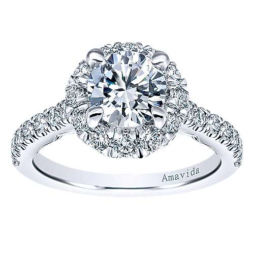 Queen 18k White Gold Round Halo Engagement Ring angle 5