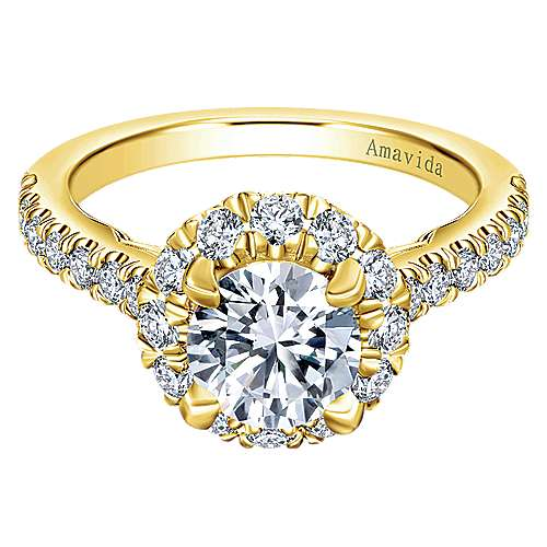 Gabriel - Queen 18k Yellow Gold Round Halo Engagement Ring