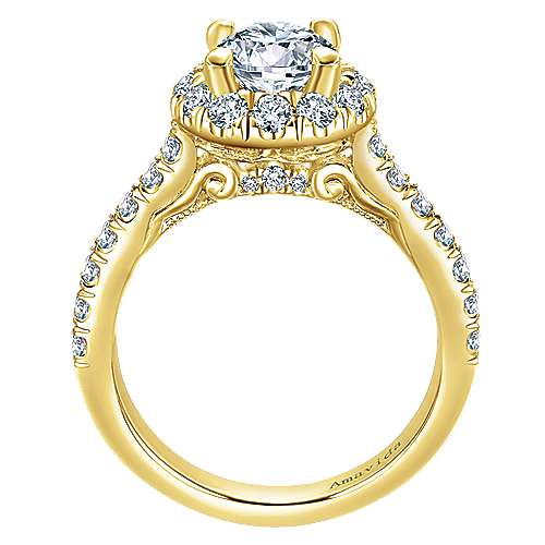 Queen 18k Yellow Gold Round Halo Engagement Ring