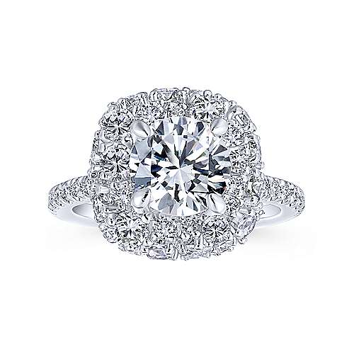 Quincy 18k White Gold Round Halo Engagement Ring angle 5