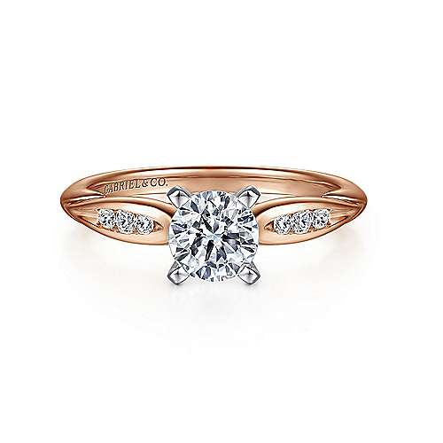 Gabriel - Quinn 14k White And Rose Gold Round Straight Engagement Ring