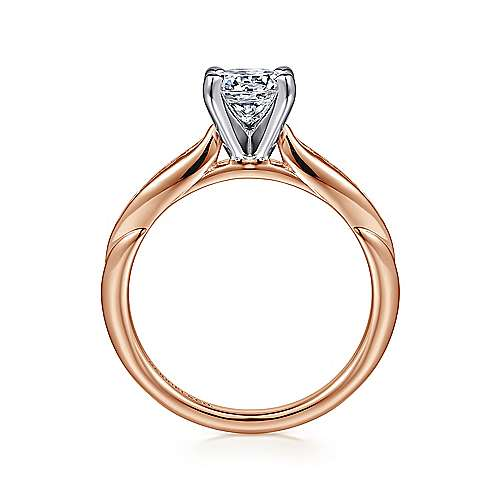 Quinn 14k White And Rose Gold Round Straight Engagement Ring angle 2