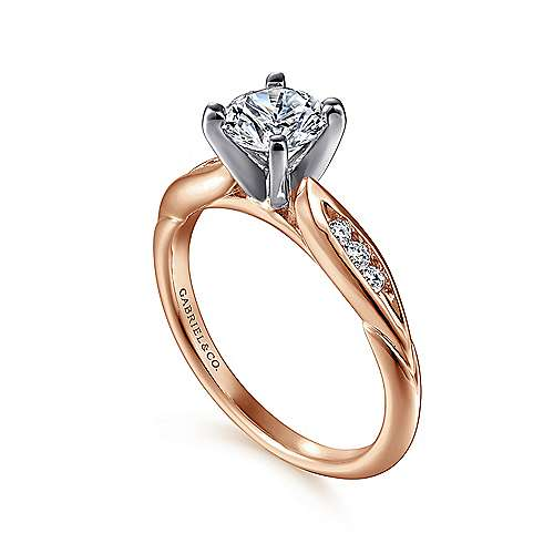 Quinn 14k White And Rose Gold Round Straight Engagement Ring angle 3