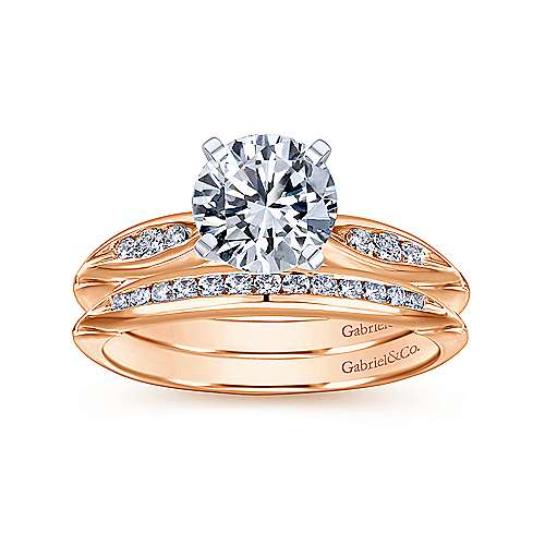 Quinn 14k White And Rose Gold Round Straight Engagement Ring angle 4