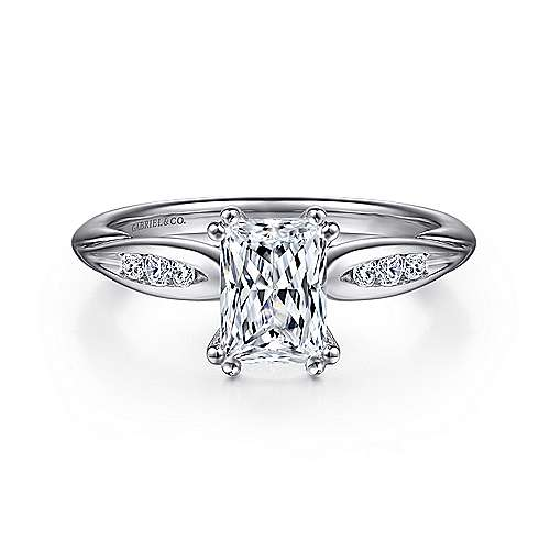 Gabriel - Quinn 14k White Gold Emerald Cut Straight Engagement Ring