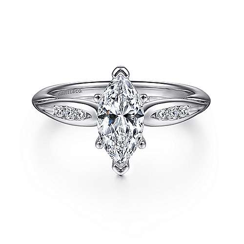 Gabriel - Quinn 14k White Gold Marquise  Straight Engagement Ring