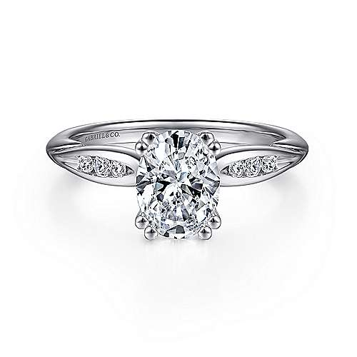 Gabriel - Quinn 14k White Gold Oval Straight Engagement Ring