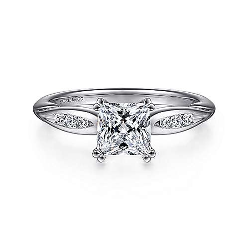 Gabriel - Quinn 14k White Gold Princess Cut Straight Engagement Ring