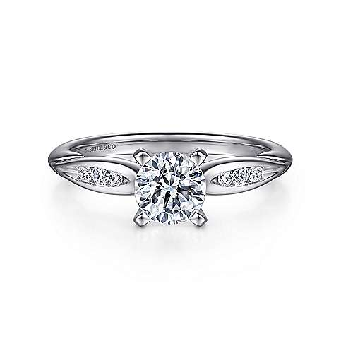 Gabriel - Quinn 14k White Gold Round Straight Engagement Ring