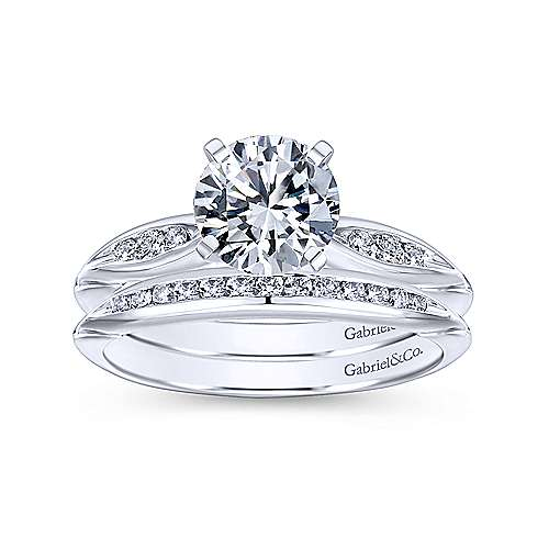 Quinn 14k White Gold Round Straight Engagement Ring angle 4