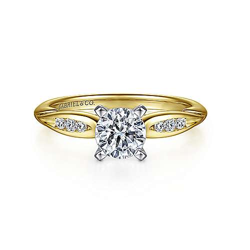 Gabriel - Quinn 14k Yellow And White Gold Round Straight Engagement Ring