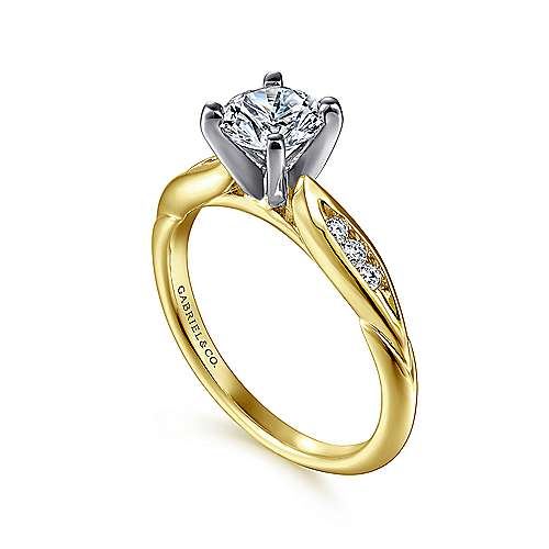 Quinn 14k Yellow And White Gold Round Straight Engagement Ring
