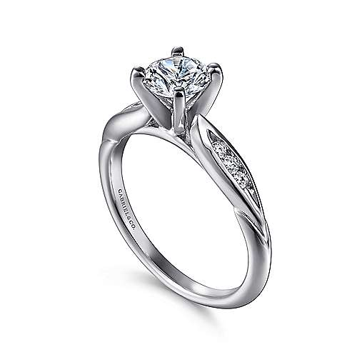 Quinn Platinum Round Straight Engagement Ring angle 3