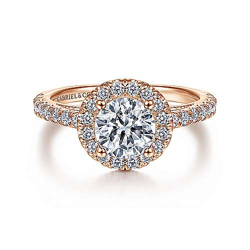 Gabriel - Rachel 14k Pink Gold Round Halo Engagement Ring