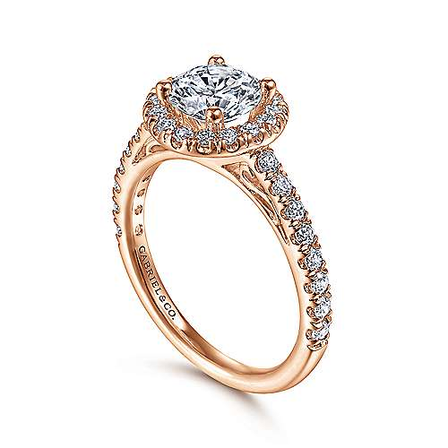 Rachel 14k Rose Gold Round Halo Engagement Ring angle 3