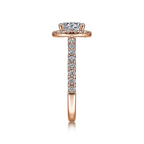 Rachel 14k Rose Gold Round Halo Engagement Ring angle 5