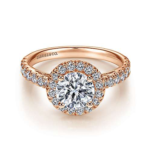 Rachel 14k Rose Gold Round Halo Engagement Ring angle 1