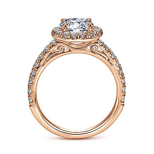 Rachel 14k Rose Gold Round Halo Engagement Ring angle 2