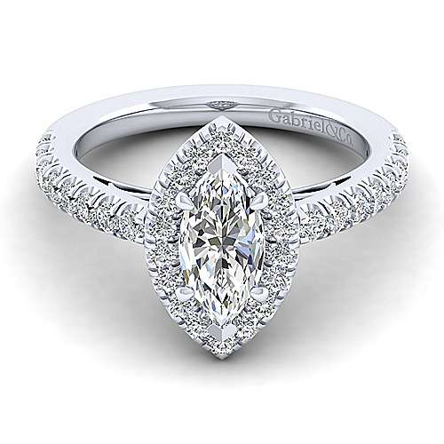 Gabriel - Rachel 14k White Gold Marquise  Halo Engagement Ring