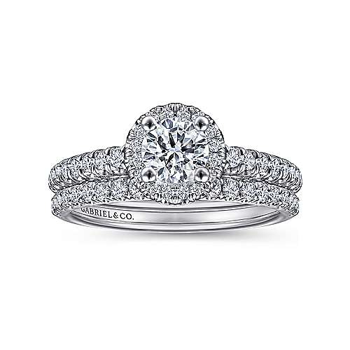 Rachel 14k White Gold Round Halo Engagement Ring angle 4