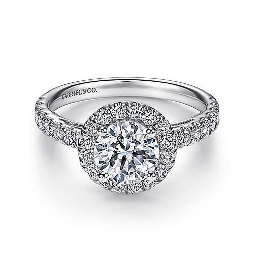 Gabriel - Rachel 14k White Gold Round Halo Engagement Ring