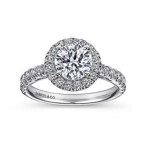 Rachel 14k White Gold Round Halo Engagement Ring