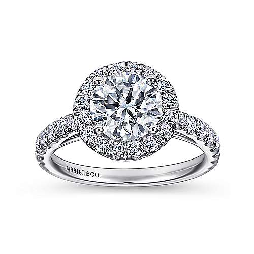 Rachel 14k White Gold Round Halo Engagement Ring angle 5