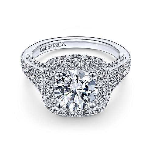 Rachel 14k White Gold Round Halo Engagement Ring angle 1