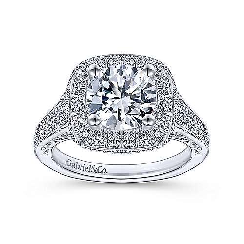 Rachel 14k White Gold Round Halo Engagement Ring angle 5