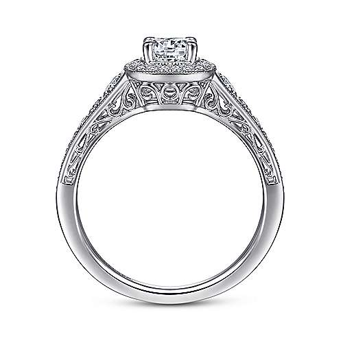 Rachel 14k White Gold Round Halo Engagement Ring angle 2