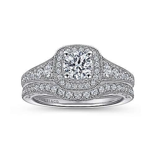 Rachel 14k White Gold Round Halo Engagement Ring angle 4