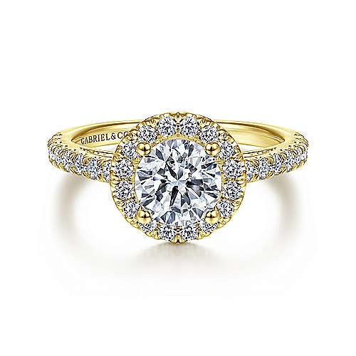 Rachel 14k Yellow Gold Round Halo Engagement Ring angle 1